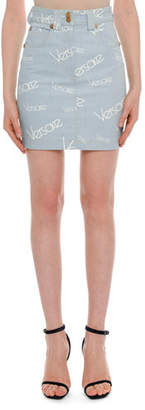 Versace High-Rise Logo-Print Knee-Length Denim Skirt