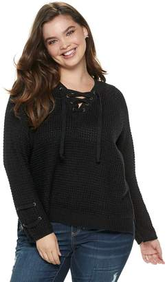 It's Our Time Its Our Time Juniors' Plus Size Lace-Up Sweater