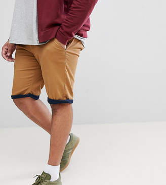 Duke King Size Chino Shorts With Stretch And Contrast Roll Hem In Tobacco