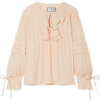 Paul & Joe Santiago Ruffled Crepe De Chine Blouse - Blush