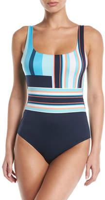 Jets Retrospect Colorblock Low-Back One-Piece Swimsuit