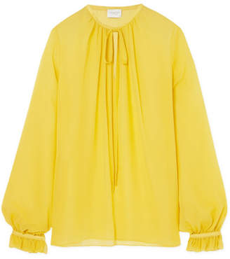 Giambattista Valli Gathered Silk-georgette Blouse - Yellow