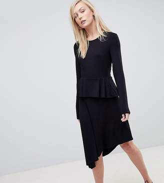 Asos Tall TALL Asymmetric Midi Skater Dress With Peplum Detail