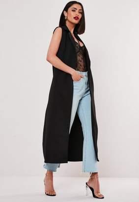 Missguided Black Sleeveless Maxi Duster Coat