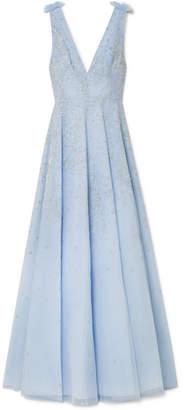 Murad Zuhair Embellished Silk-blend Organza Gown - Light blue