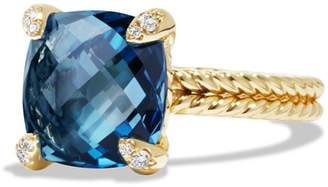 David Yurman Chatelaine Ring with Hampton Blue Topaz and Diamonds in 18K Gold