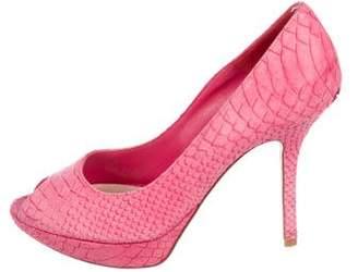 Christian Dior Patent Leather Peep-Toe Platforms