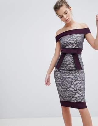 Bardot Vesper Lace Dress With Contrast