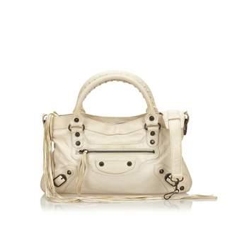 Balenciaga First White Leather Handbag