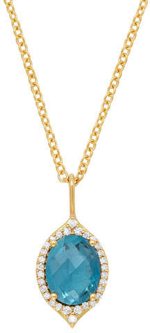 Jamie Wolf 18k Oval Aladdin Pavé Necklace w/ Blue Topaz & Diamonds