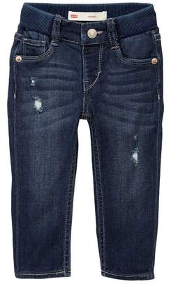 Levi's Ribbed Waistband Distressed Skinny Jean (Baby Girls)