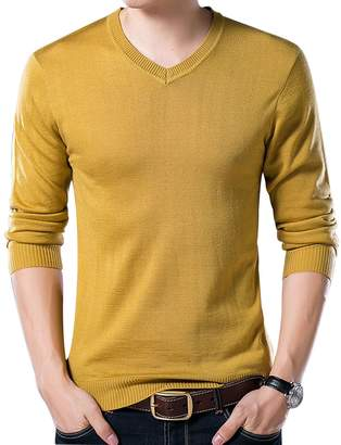 Yeokou Men's Casual Slim V Neck Winter Wool Cashmere Pullover Jumper Sweater