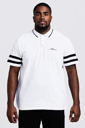 Big & Tall MAN Pique Polo With Sleeve Stripe Detail