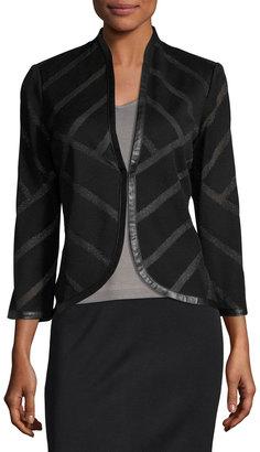 Ming Wang Striped Faux-Leather Trim Knit Jacket, Black $189 thestylecure.com