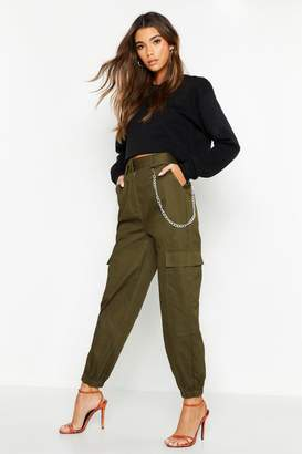 boohoo Chain Trim Pocket Cargo Trousers