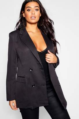 boohoo Plus Double Breasted Contrast Button Blazer