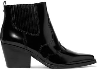 Sam Edelman Winona Glossed-leather Ankle Boots - Black
