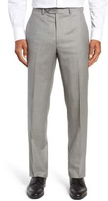 Santorelli Flat Front Sharkskin Wool Trousers