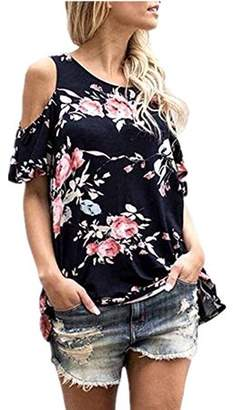 YONYWA Floral Print Clod Shoulder Blouse Short Sleeve Casual Tops Tee