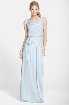 Women's Nouvelle Amsale 'Kim' Drape Neck Wrap Skirt Chiffon Gown $220 thestylecure.com