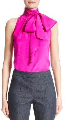 Women's St. John Collection Stretch Silk Charmeuse Halter Tie Blouse $495 thestylecure.com