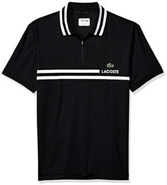 Lacoste Men's Short Sleeve Pique Fine Stripe with Jacquard Collar and Zip Placket Polo