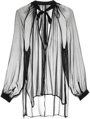 Taylor sheer panel silk top