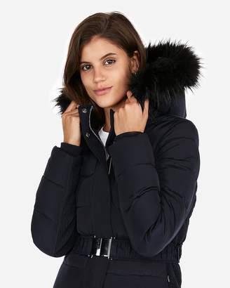 Express Long Belted Puffer Jacket