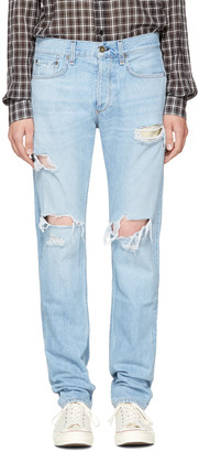 Rag & Bone SSENSE Exclusive Blue Standard Issue Fit 3 Jeans $295 thestylecure.com