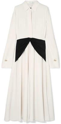 Victoria Beckham Embellished Silk-paneled Crepe De Chine Dress - Cream