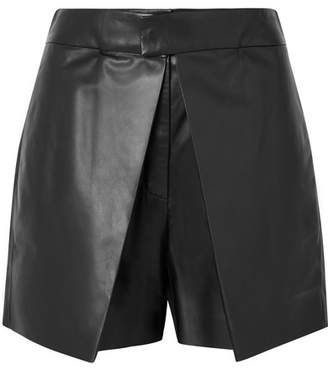 Valentino Layered Leather Shorts - Black