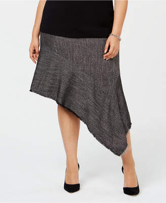Anne Klein Plus Size Fringe-Trim Asymmetrical Skirt