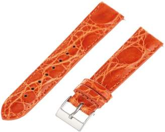Artisan of Italy CITQR100-1118LR Women's Fashion Quick-Release Padded Crocodile 18mm Orange Watch Strap