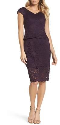 La Femme Embellished Lace Sheath Dress