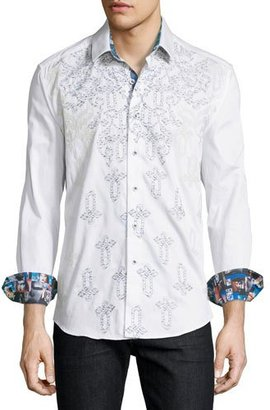 Robert Graham Baroque-Embroidered Long-Sleeve Sport Shirt, Off White $298 thestylecure.com