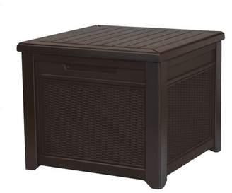 Keter 55 Gallon Storage Cube Rattan, Resin Deck Box, Brown