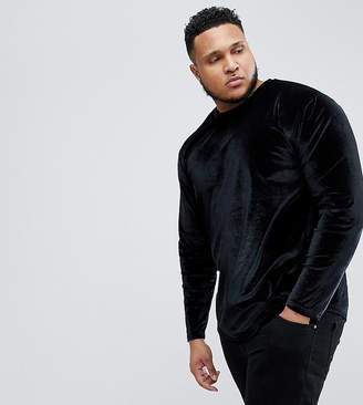 Asos PLUS Relaxed Longline Long Sleeve T-Shirt In Velour With Curved Hem In Black