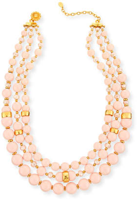 Jose & Maria Barrera Three-Strand Blush Glass Necklace