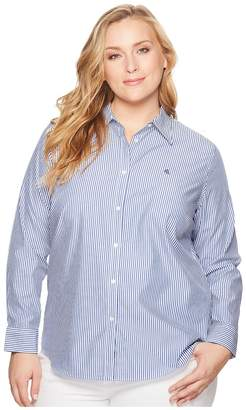 Lauren Ralph Lauren Plus Size Striped Cotton Shirt Women's Clothing