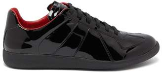 Maison Margiela Replica Patent Leather Trainers - Mens - Black Red