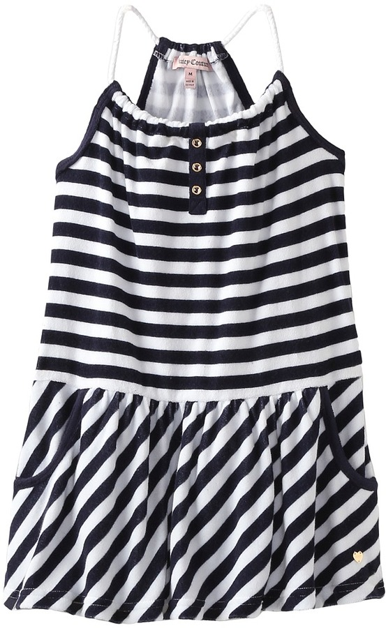 Juicy Couture Terry Malibu Stripe Dress (Toddler/Little Kids/Big Kids) (Regal Stripe) - Apparel