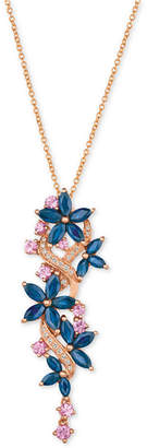 LeVian Le Vian Multi-Sapphire (3-3/8 ct. t.w.) & Diamond (1/10 ct. t.w.) Pendant Necklace in 14k Rose Gold