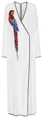 Attico Raquel parrot-embellished wrap dress