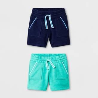 Cat & Jack Toddler Girls' Knit Cargo Shorts Bright Blue/Mint Green