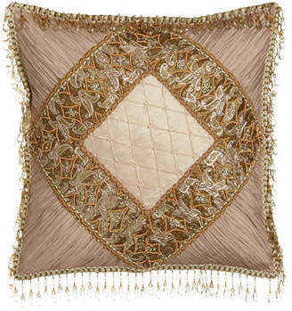 "Sweet Dreams Alessandra Pillow with Shirred Silk Corners & Bead Embellishment, 16""Sq."