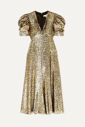 Michael Kors Metallic Fil Coupé Leopard-jacquard Midi Dress - Gold