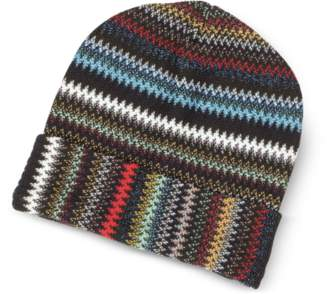 Missoni Blue/Multicolor Zig Zag Acrylic and Wool Lurex Women's Hat