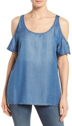 Women's Kut From The Kloth Carolina Cold Shoulder Denim Top $78 thestylecure.com
