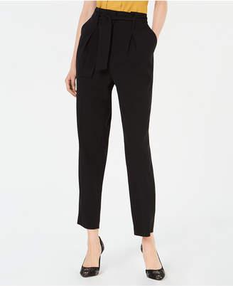 Bar III Pleated Self-Belt Pants