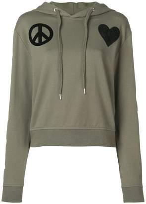 Love Moschino heart pach hoodie